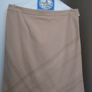 Ann Taylor tan skirt with detailed stitching